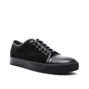 Lanvin Suede & Nappa Captoe Sneakers in Black